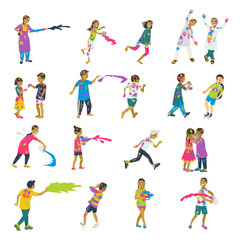 Happy holi set of 20 children characters playing holi. Vector set of characters.