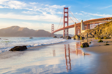 Golden Gate Bridge at sunset, San Francisco, California, USA Wall mural