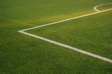green texture of football or soccer field with white corner line background