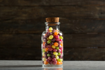 Candy Jar on Rustic Wooden Table