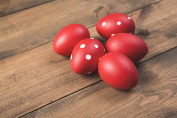 Group of red boiled Easter eggs