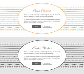 Gold and Silver Chains Samples Vector Illustration