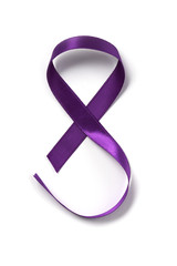 purple ribbon as an 8, for march 8, the womens day