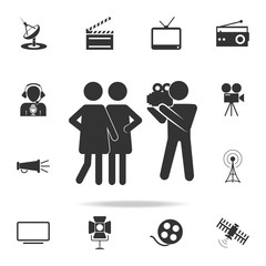 cameraman with models icon. Detailed set icons of Media element icon. Premium quality graphic design. One of the collection icons for websites, web design, mobile app
