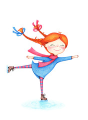 hand drawn picture of girl figure skating on ice by the color pencils on white background. Winter fun sport activities illustration