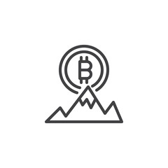 Bitcoin and mountain peak outline icon. linear style sign for mobile concept and web design. Bitcoin ATH, Cryptocurrency stock highest price simple line vector icon. All time high symbol