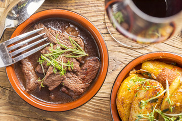 delicious rustic beef in red wine sauce tapas starter