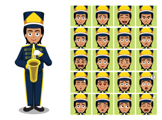 Marching Band Saxophone Girl Cartoon Emotion faces Vector Illustration