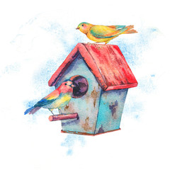 Watercolor illustration with birdhouse and pair of birds