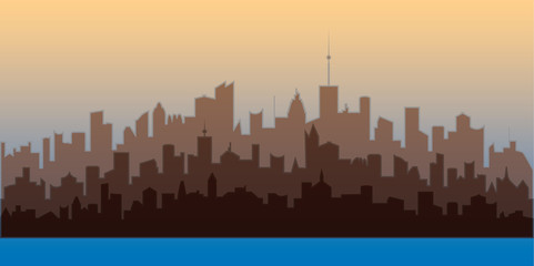 Horizontal city landscape. Brown silhouettes of buildings. Vector illustration of modern city residential area.
