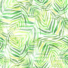 Poster Tropical Leaves Seamless watercolor background from green tropical leaves, palm leaf, floral pattern. Bright Rapport for Paper, Textile, Wallpaper, design. Tropical leaves watercolor.