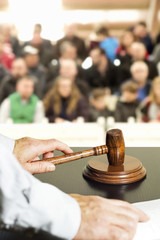 auction bid sale judgment mallet gavel with public