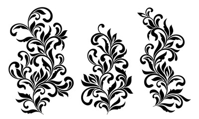 Decorative floral elements with swirls and leaves isolated on white background. Ideal for stencil. Vintage style.