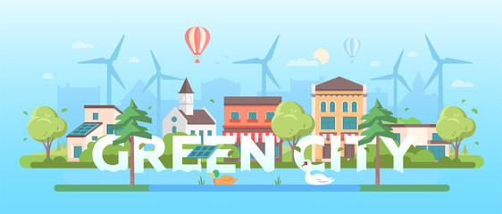 Green city - modern flat design style vector illustration
