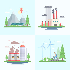 Ecology - set of modern flat design style vector illustrations