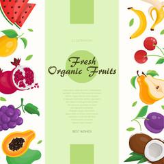 Fresh organic fruit - modern colorful vector illustration