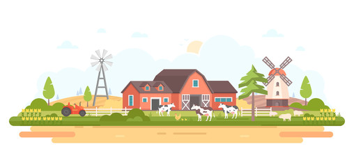 Country life - modern flat design style vector illustration