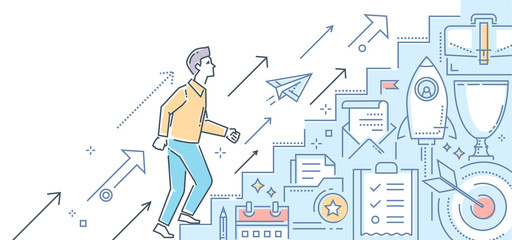 Career growth - modern line design style illustration