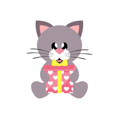 cartoon cute cat sitting with gift