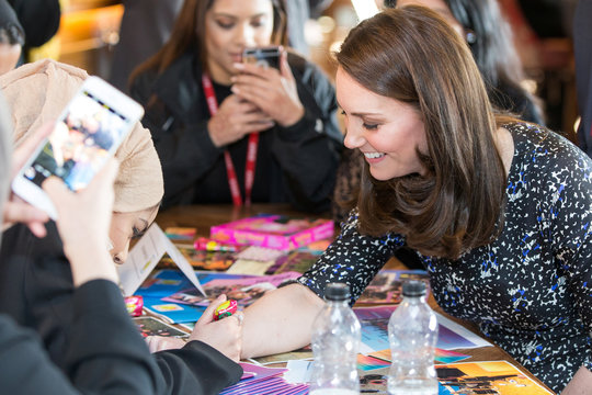 Britain's Catherine Duchess of Cambridge visits The Fire Station, a newly converted music and arts club, in Sunderland