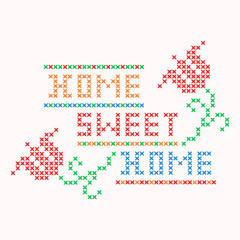 Home Sweet Home Cross Stitch Pattern Design Colorful With Flowers Vector
