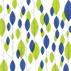 background print with colored blue and green leaves