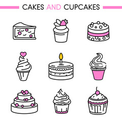 Cakes and cookies icon set. Includes: cheesecake, strawberry cake, wedding and birthday cake, cupcake, muffin for web, mobile app, logo, infographics. Lines without expand