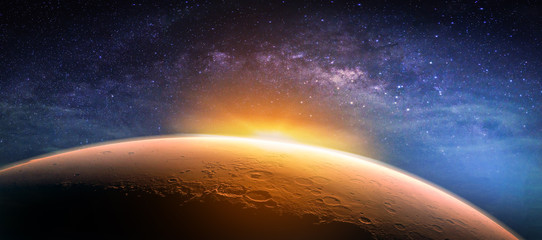 Wall Mural - Landscape with Milky way galaxy. Sunrise and planet view from space with Milky way galaxy. (Elements of this image furnished by NASA)