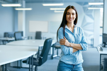 Woman In Office. Female At Work