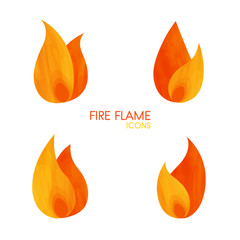 Handdrawn simple fire flame icons set, vector elements, elegant burn concept logo for web site page and mobile app design
