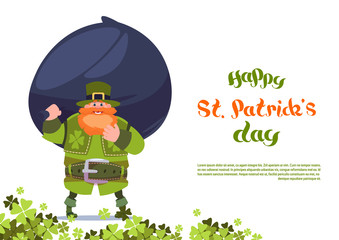 Happy St. Patricks Day Greeting Card Template Background With Leprechaun Holding Big Bag Of Coins Flat Vector Illustration