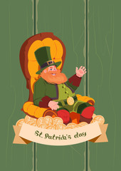 Leprechaun On Happy St. Patricks Day Holiday Poster Or Greeting Card Background Flat Vector Illustration