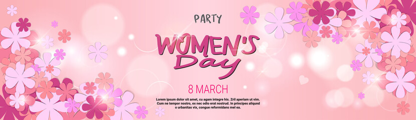 8 March Party Invitation Happy Womens Day Background Horizontal Banner Beautiful Holiday Decoration Vector Illustration