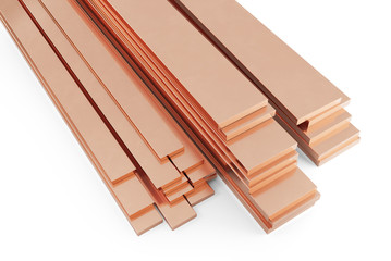 Stack of copper plates. Isolated on white background, clipping path included. 3d illustration.