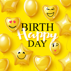 Vector birthday background smiling face helium balloons