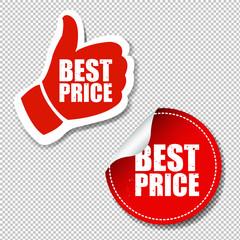 Best Price Labels Set Transparent Background