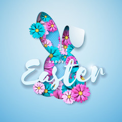 Vector Illustration of Happy Easter Holiday with Spring Flower in Nice Rabbit Face Silhouette on Light Blue Background. International Celebration Design with Typography Letter for Greeting Card, Party