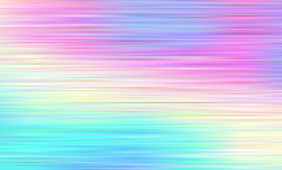Holographic Gradient Stripes Vector Background. Pastel Rainbow Shiny Lines Texture. Psychedelic Color Neon Haze. Hatching Strokes Surface in Cyan, Blue, Pink, Violet, Magenta and Yellow.