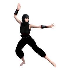 3D Rendering Female Ninja on White