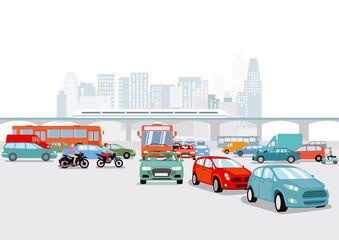 Großstadt mit Autos, verkehrs illustration