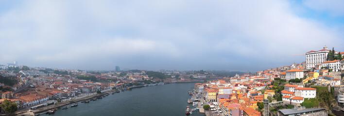 Old Porto city and Ribeira over Douro river from Vila Nova de Gaia, Portugal