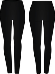 Black legging tight pants. vector illustration