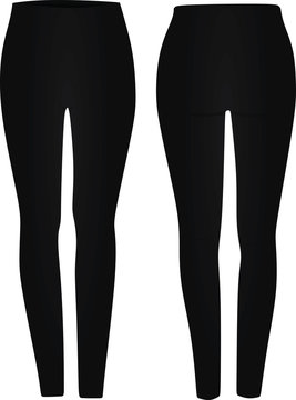 Black legging tight pants. vector illustration