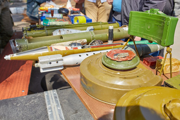 Anti-tank and anti-personnel mines on the stand