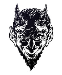 Vinage style hand drawn devil or demon portrat.