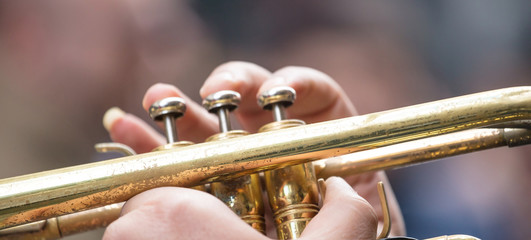 Musician with brass trumpet plays classical music. Close up view with details, blurred background, banner. Wall mural