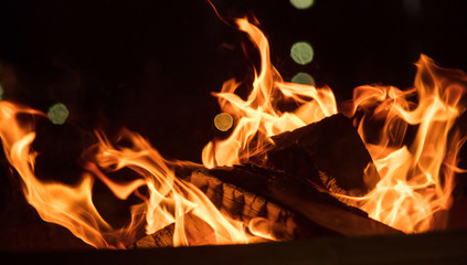 Fire in fireplace with colorful flames on black background. Close up with details, space.