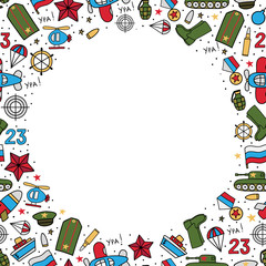 Vector background of military icons on a white background. Wrapping paper. Defender of the Fatherland Day - Russian national holiday on 23 February.