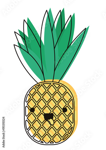 Pineapple Fresh Fruit Kawaii Character Vector Illustration