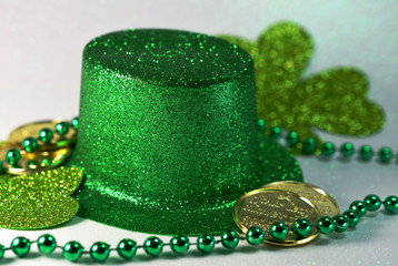 St. Patrick's Day Top Hat with decorations close up